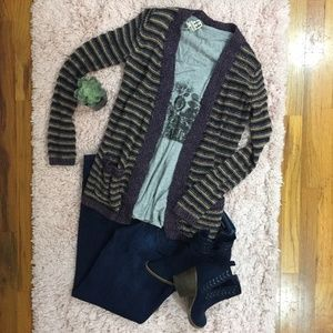 LAST CHANCE! Lucky Brand Striped Open Front Cardi